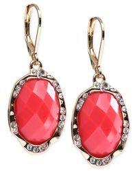 Jones New York | Pink Gold-tone Single Oval Drop Earrings | Lyst