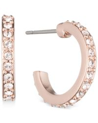 Givenchy | Metallic Rose Gold-tone Crystal Huggie Hoop Earrings | Lyst