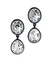 Kenneth Jay Lane | Metallic Black Plated Crystal Headlight Clip Earring | Lyst