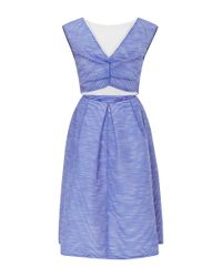 Monique Lhuillier | Blue Ottoman Organza Dress | Lyst