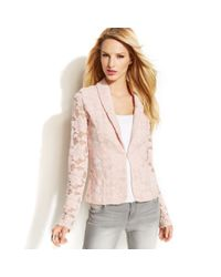 INC International Concepts - Pink Shawlcollar Illusion Lace Blazer - Lyst