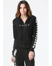 Bebe | Black Logo Embroidered Hoodie | Lyst