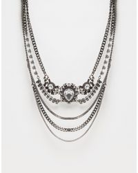 Monki | Metallic Multi Row Jewelled Necklace | Lyst
