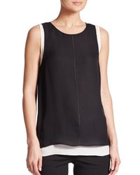 VINCE | Black Layered Tank Top | Lyst