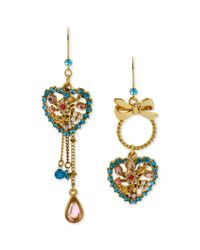 Betsey Johnson | Blue Goldtone Crystal and Imitation Pearl Heart Mismatch Earrings | Lyst