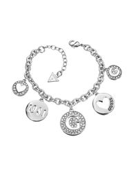 Guess | White G Girl Multi Pave' G Charm Bracelet | Lyst