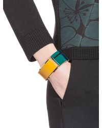 Marni | Blue Stretch Bracelet In Leather With Geometric Pattern | Lyst