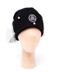 Silver Spoon Attire - Black Pearl Mesh Veil Beanie Hat - Lyst