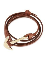 Miansai | Brown Anchor Leather Bracelet | Lyst