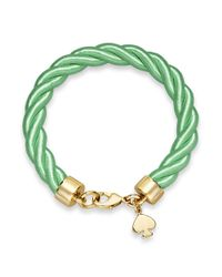 kate spade new york - Goldtone Charm And Bud Green Learn The Ropes Bracelet - Lyst