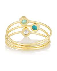Jennifer Meyer - Blue Set Of Three 18-Karat Gold, Diamond, Emerald And Turquoise Rings - Lyst