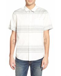 Ezekiel - White 'bryant' Short Sleeve Stripe Woven Shirt for Men - Lyst
