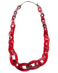 Monies | Red Chain Link Necklace | Lyst
