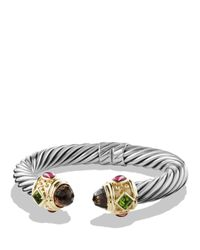 David Yurman | Metallic Renaissance Bracelet With Smoky Quartz, Peridot, Pink Tourmaline And Gold | Lyst