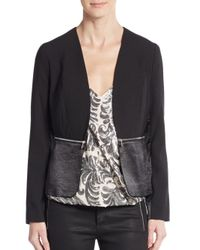 1.STATE | Black Blocked Mixed Media Blazer | Lyst