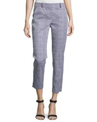 Theory - Gray Treeca Check Straight-leg Pants - Lyst