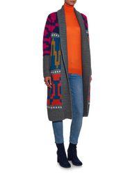 Tak.ori - Multicolor Long Intarsia-knit Cardigan - Lyst