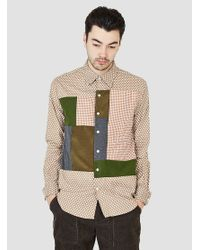 Rough & tumble Cut & Sew Block Shirt Beige Small Polkadot in ...