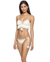 She Made Me - Crochet Frill Bikini Top - Natural - Lyst