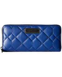 Marc By Marc Jacobs - Blue Crosby Quilt Leather Slim Zip Around - Lyst