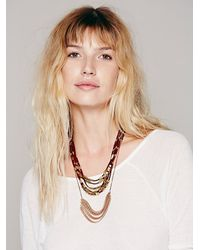 Free People - Metallic Suede Abacus Necklace - Lyst
