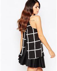 AX Paris   Black Split Back Top In Grid Print   Lyst