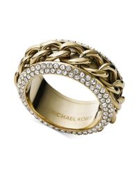 Michael Kors - Metallic Goldtone Clear Pavé Frozen Curb Chain Ring - Lyst