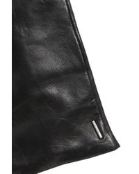 BOSS Black Leather Gloves With Topstitched Hem: 'garuni'