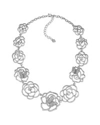 Carolee | Metallic Silvertone Crystal Flower Graduated Collar Necklace | Lyst