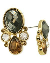 T Tahari | Metallic Gold-tone Mixed Jewels Button Stud Earrings | Lyst
