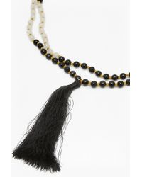 French Connection - White Tassel Beaded Pendant Necklace - Lyst