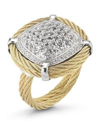 Charriol - Metallic White Sapphire Pave Cable Ring Size 65 - Lyst