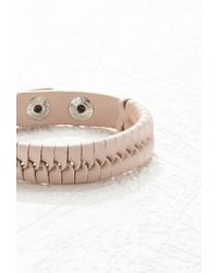 Forever 21 | Natural Woven Faux Leather Bracelet | Lyst