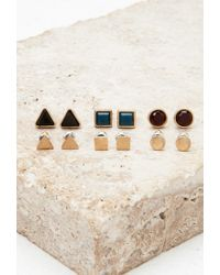 Forever 21 | Metallic Geo Faux Stone Stud Set | Lyst