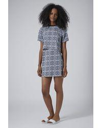 TOPSHOP - Blue Tile Print Crop Overlay Dress - Lyst