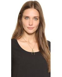 Tory Burch - Metallic Wishbone Charm Necklace - Gold Ox - Lyst