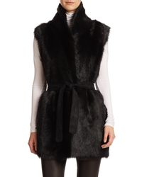 VINCE | Black Suede and Shearling Vest  | Lyst