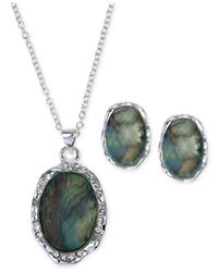 Jones New York | Green Silver-tone Abalone Oval Pendant Necklace And Stud Earring Set | Lyst