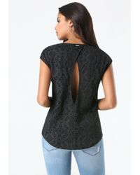 Bebe | Black Lace Print Surplice Top | Lyst