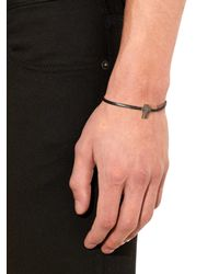 Saint Laurent | Black Cross Charm Leather Bracelet for Men | Lyst