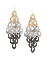 Steve Madden - Metallic Tritone Glitter Oval Chandelier Earrings - Lyst