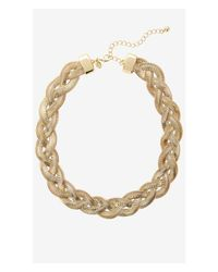 Express | Metallic Braided Herringbone Chain Necklace | Lyst