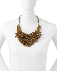 Deepa Gurnani - Metallic Brass Flower Bib Necklace - Lyst