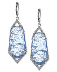 Vince Camuto | Blue Silver-tone Crackle Stone Drop Earrings | Lyst