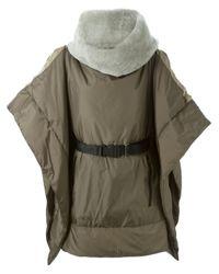 Hache - Gray Collar Padded Oversized Coat - Lyst