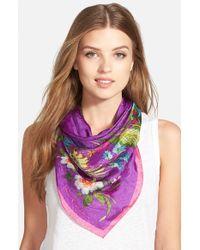 Lauren by Ralph Lauren - Silk Square Scarf - Purple - Lyst