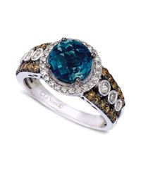Le Vian | Blue Topaz (2 Ct. T.w.) And White And Chocolate Diamond (3/4 Ct. T.w.) Statement Ring In 14k White Gold | Lyst