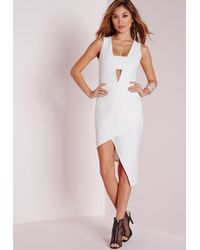 Missguided - Crepe Sleeveless Asymmetric Bodycon Dress White - Lyst