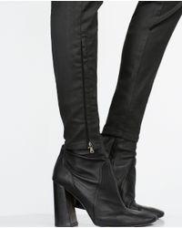 Zara | Black Skinny Biker Jeans | Lyst