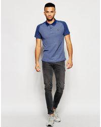 Jack & Jones - Blue Polo Shirt With Contrast Raglan Sleeves for Men - Lyst